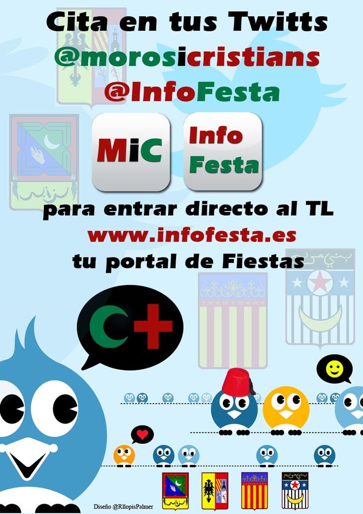 Cita en tus twits @morosicristianos o @infofesta tu información directa al portal festero #Información #Turismo #Moros y #Cristianos #Twitter #Fiestas #Alcoy #Alicante