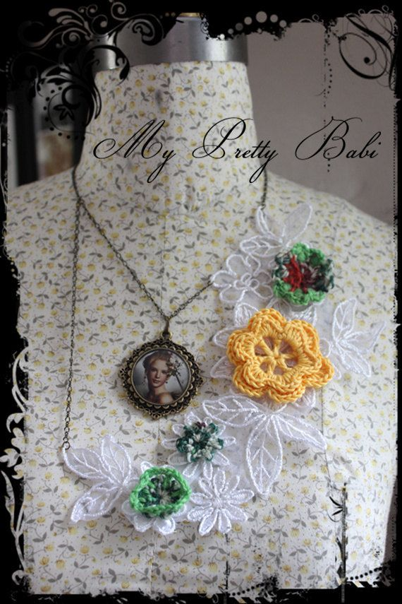 Crochet & Lace Necklace by myprettybabi @Etsy @Meylah Marketplace Marketplace  Grab a coupon code in my shop main page to receive 20% off - you can use it in any item in my shop include already reduced items - coupon code expires on the 24th June