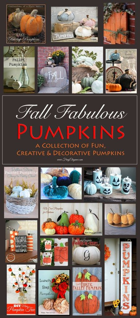 Decorative Fall Pumpkins: A Collection of Fun, Creative & Decorative Pumpkins at www.FrugElegance.com
