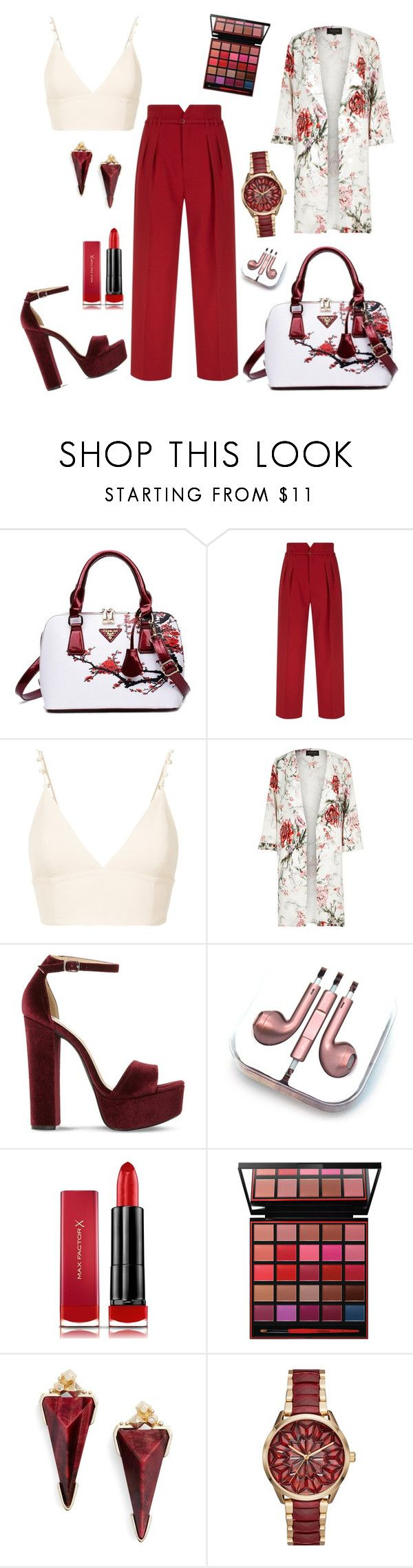 """Untitled #338"" by inesgenebra on Polyvore featuring beauty, RED Valentino, nk, River Island, Steve Madden, PhunkeeTree, Max Factor, Smashbox, Kendra Scott and Michael Kors"