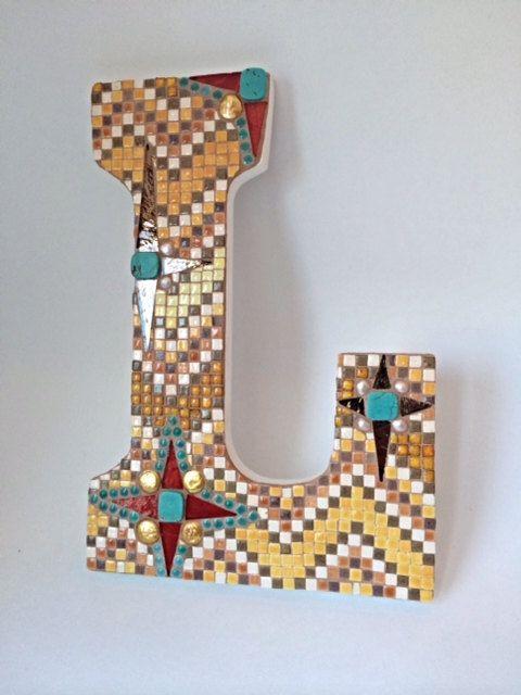 Mosaic letter L, Initial Letter L, southwest colors, southwestern wall art, santa fe style, micro mosaic art, wall decor, nursery decor art, on Etsy, $60.00