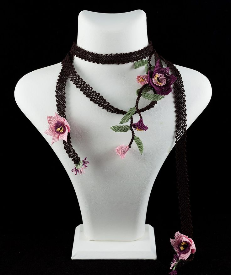 """Narcissus dawn"" silk lace necklace"