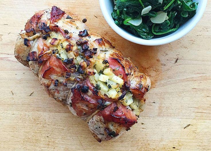 Apple, Sage, and Prosciutto-Stuffed Pork Loin   - Delish.com