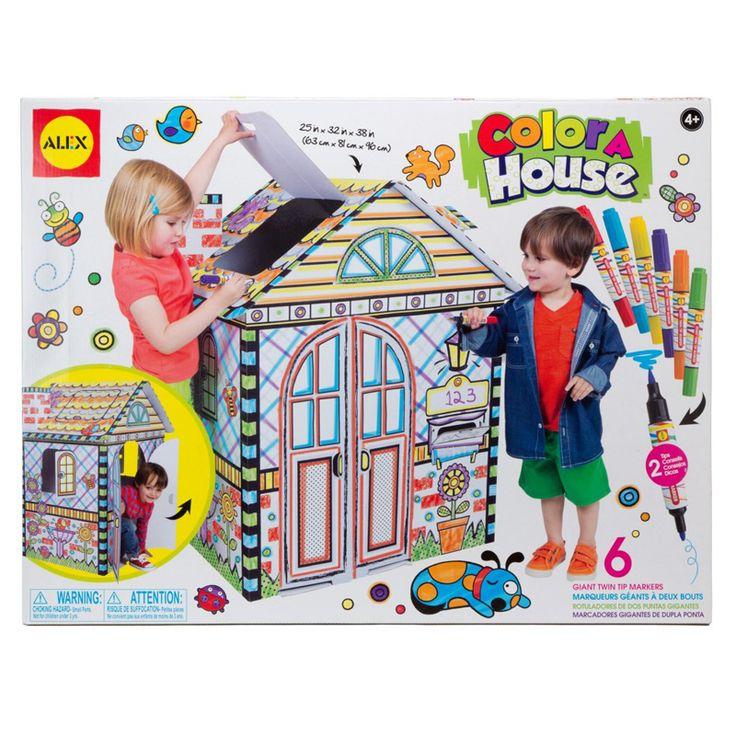 Alex Boyanabilir Dev Ev Kendi  evinizi renklendirebileceğiniz muhteşem bir oyun alanı tasarlamak istermisiniz?  Boyama için   6 adet  parlak renkli,kalıcı ve çift taraflı kullanılabilen marker içerir.Geniş alanları hızlıca boyamak için kalın uçu, ayrıntılar içinse ince uçlu fırçayı kullanabilirsiniz. ölçüleri: (63 cm  x 81 cm x96 cm).Bir baca, posta kutusu ve açılabilir çatı katı penceresi bulunur. Kolayca monte edilebilir. Kolay talimatlar  içerir.