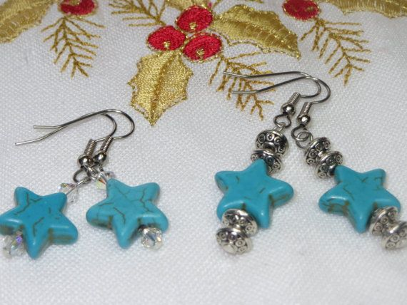 Black FridayTurquoise Earrings Star Earrings Celestial by Thielen