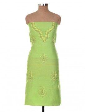 Lime Green Chanderi Zari Mukaish Chikankari Embroidered Kurta Fabric