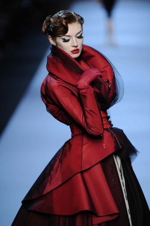 Olga Sherer, model, supermodel, Christian Dior, Dior, CD, Christian Dior Haute Couture, runway, fashion, high fashion, couture, haute couture, Paris, John Galliano, Galliano, atelier, Paris Fashion Week, fashion show, runway show, catwalk, France, red, scarlet, gown, ball gown, gloves, makeup, red lips, lipstick, chiffon,