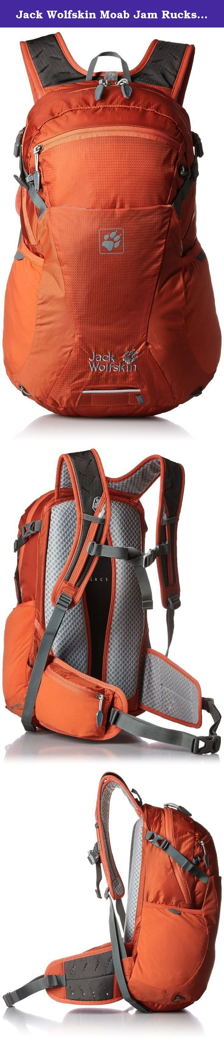 Jack Wolfskin Moab Jam Rucksack, Chili, 24 L. Combines freedom of movement with versatile detailing: the moab Jam 24 is a medium-capacity, lightweight day pack for biking and hiking trips. The acs tight suspension system hugs your body and ensures full control of the load at all times. To ensure you enjoy those physically demanding activities, the central air channel at the back and the air-permeable padding provide exceptional ventilation and outstanding carry comfort.We've added many...