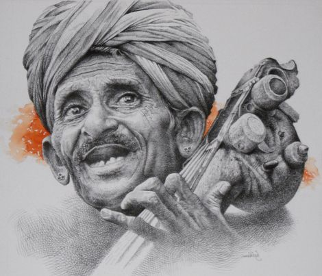 Rare Thoughts Art Gallery Rajasthani Musician Painting