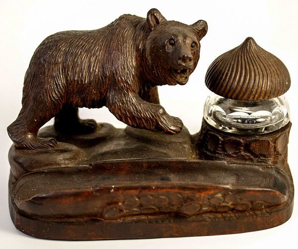 Antique Hand Carved Black Forest Bear is an Inkwell, Pen Holder - Ink Well, Glass Eyes