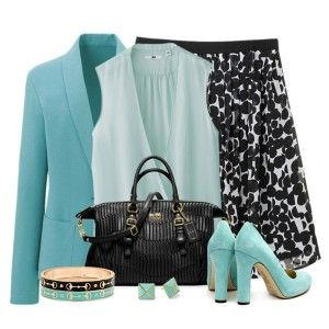 Голубые туфли, белая юбка в черный горошек, серо-голубая блузка. голубой пиджак. черная сумка, украшения