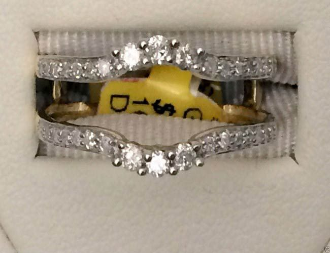 14kt Yellow Gold Solitaire Enhancer 3 Three Stone Diamond Ring Guard Wrap Band (0.38ct. tw) by RG&D... #gold #diamonds #ringguard #wrap #enhancer #fashion #jewelery #love #gift #ringjacket #engagement #wedding #bridal #engaged #whitegold #yellowgold #online #shopping #jewelry #pintrest #follow #richmondgoldanddiamonds