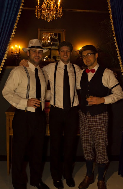 (Minus the drinks) Need: Suspenders, Fedoras, Caps, Bow Ties