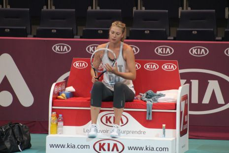 Maria Sharapova at practice, Open GDF Suez 2014