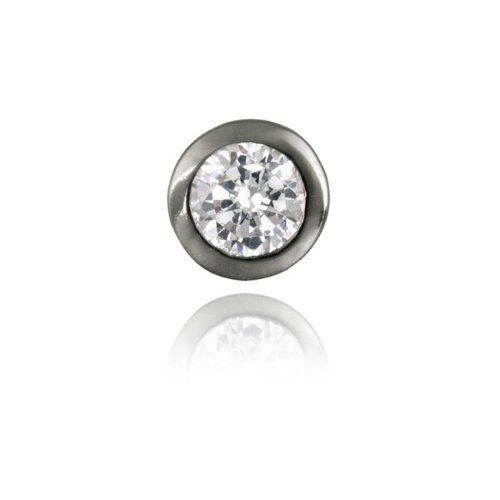 Black Rhodium Overlay Sterling Silver CZ Bezel-set 8mm Mens Stud Earring SilverSpeck.com. $9.99. Cubic Zirconia; 1 Black Plated Stud Earring; Sterling Silver