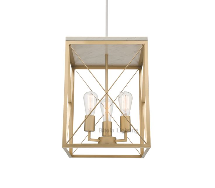 Claudia+3+Light+Lantern+Ceiling+Pendant+-+Gold+with+Marble+Metal+-+Mercator+MG1923, $269.00