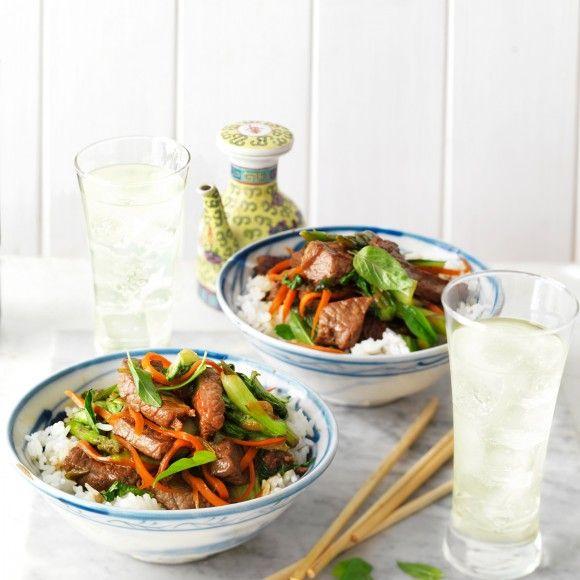 Soy Beef, Bok Choy and Asparagus Stir-Fry