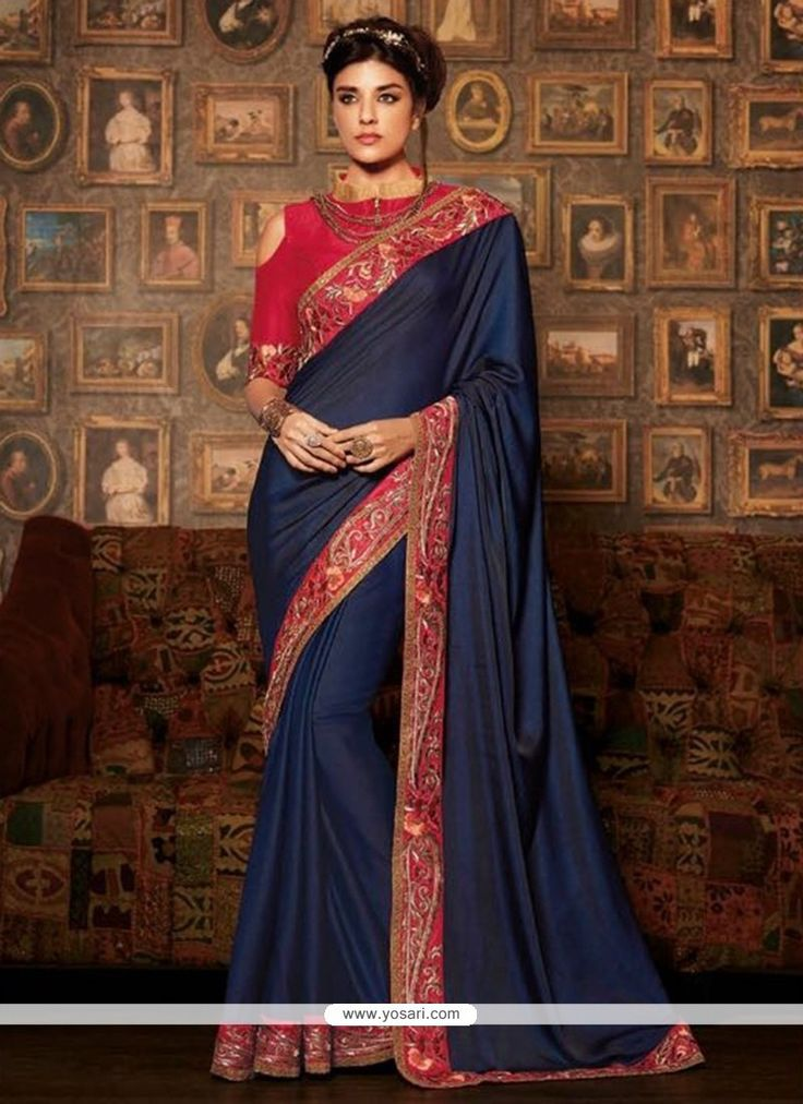 Amazing Navy Blue Designer Traditional Sarees Model: YOSAR9683