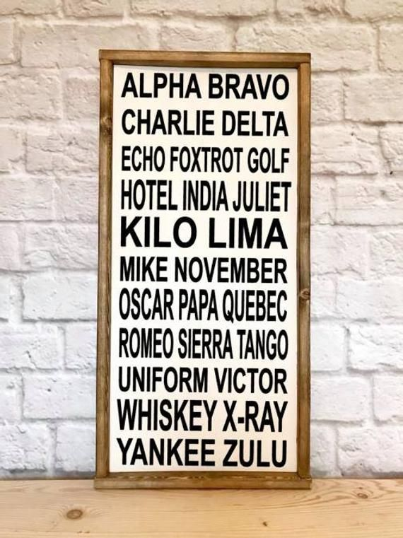 Phonetic Alphabet Wood Sign Framed Sign Alpha Bravo Delta Etsy Wood Signs Phonetic Alphabet Aviation Decor