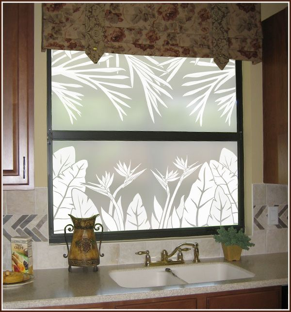 Tropical Oasis Privacy Window Film - Frosted Window Covering @dlmnakano they're back in stock!!