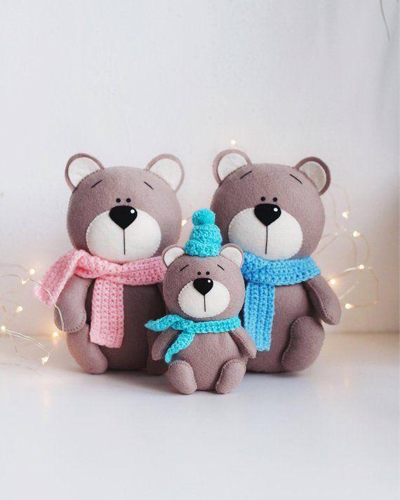 4dc2f7cd6 Brown bear - felt animals -nursery decor- handmade gift- baby gift ...