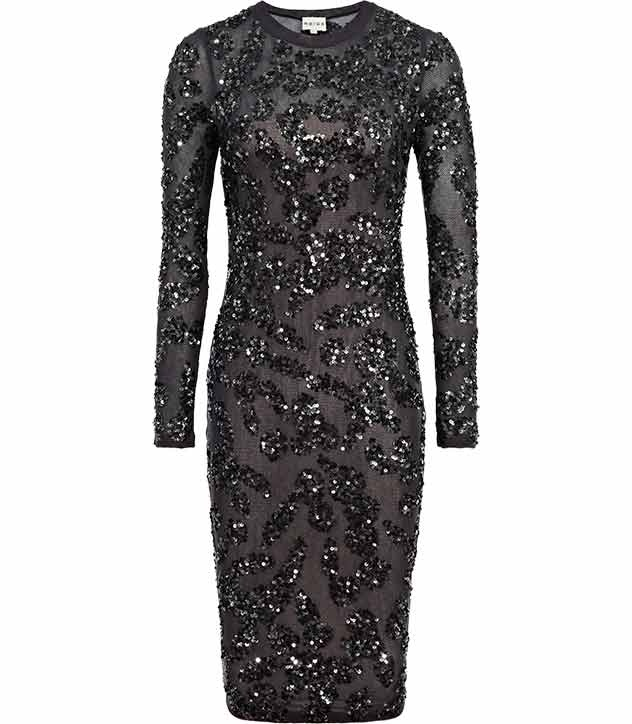 This bodycon dress in an on-trend midi length strikes the balance between the glamour of sequins and the understated tone of the season