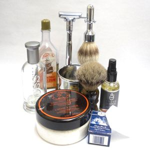 Old-fashioned men's shaving kit.  My favorite comes from:   The Art of Shaving | Perimeter Mall
