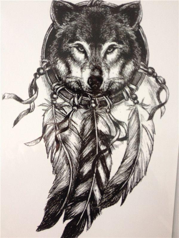 2016 Волк с Перо Прохладный Салон Татуировки Водонепроницаемый Горячие Временные Татуировки Наклейки купить на AliExpress