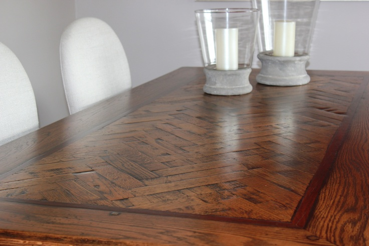 Hand crafted parquetry table specialists. Charcoal Interiors Brisbane.  Tables made to your own requirements.