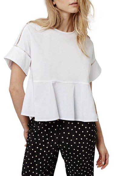 Topshop Ladder Stitch Peplum Tee (Petite) available at #Nordstrom