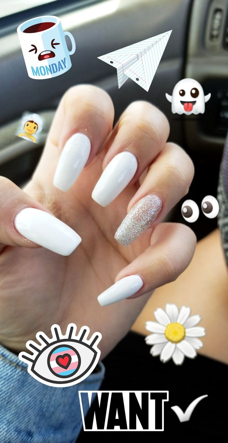 Type: Long Acrylic Coffin Nails   Color: White Season: August nails Detail touch…