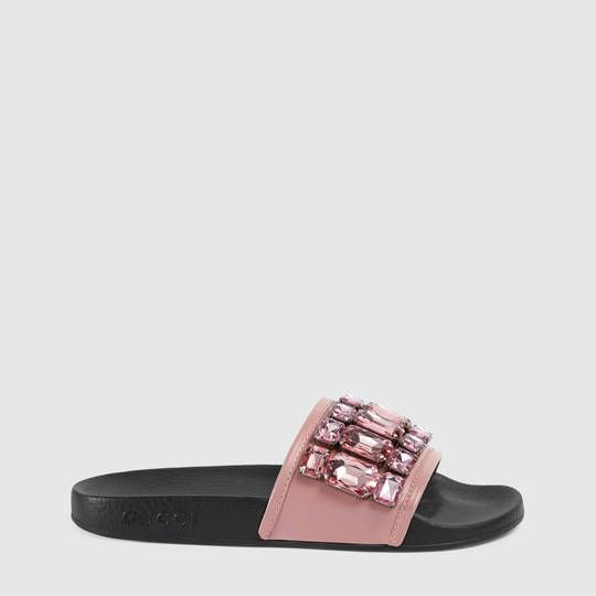 Gucci Crystal leather slide sandal