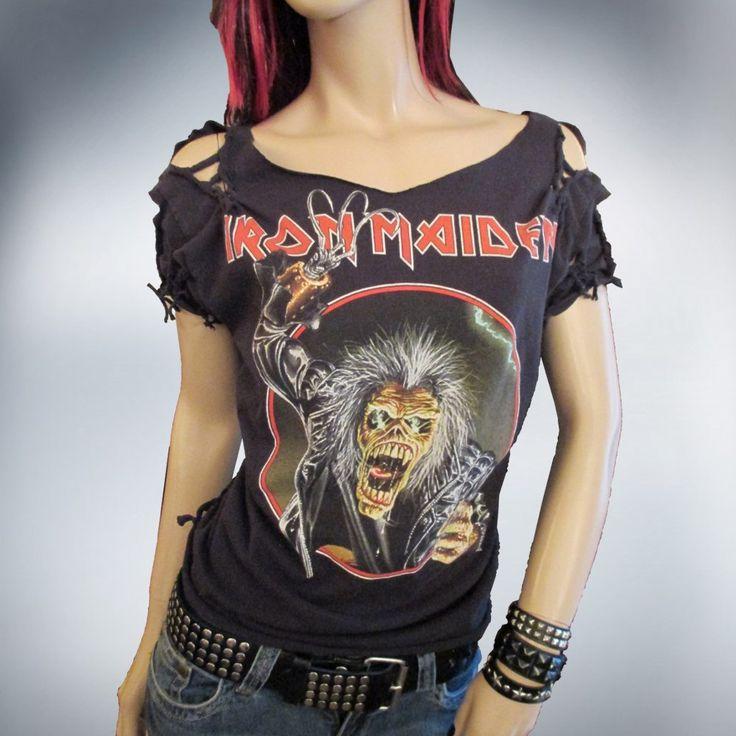 Shredded Slashed Weaved Vintage Iron Maiden T Shirt /Top OOAK by Rebeltude by Rebeltude on Etsy