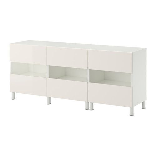 IKEA - BESTÅ, Storage combination w glass doors, white/Tofta high-gloss/white,