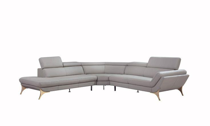 Divani Casa 1541 Modern Grey Leather Sectional Sofa - Stylish Design Furniture