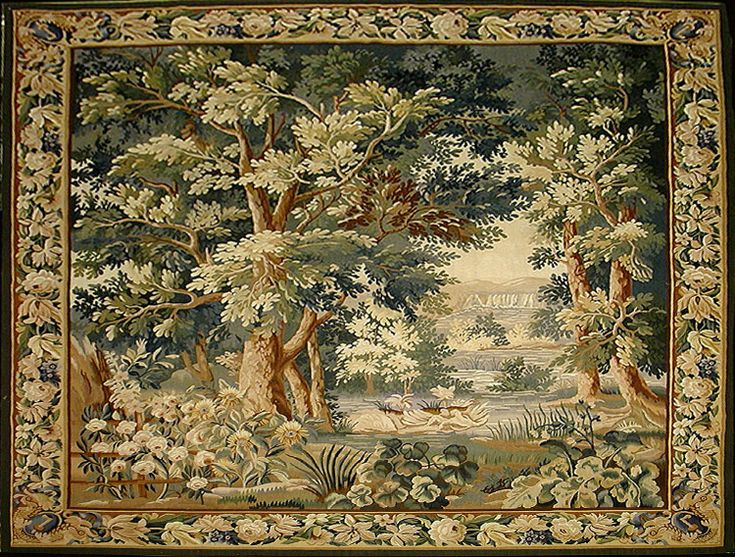 Reproduction Of Antique Verdure Tapestry Tapestries