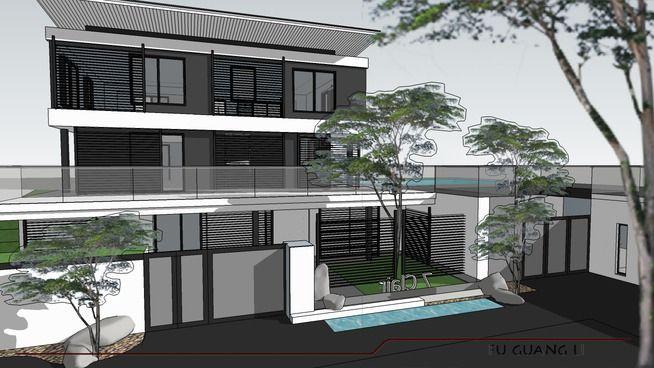 modern asian villa contemporary design - 3D Warehouse