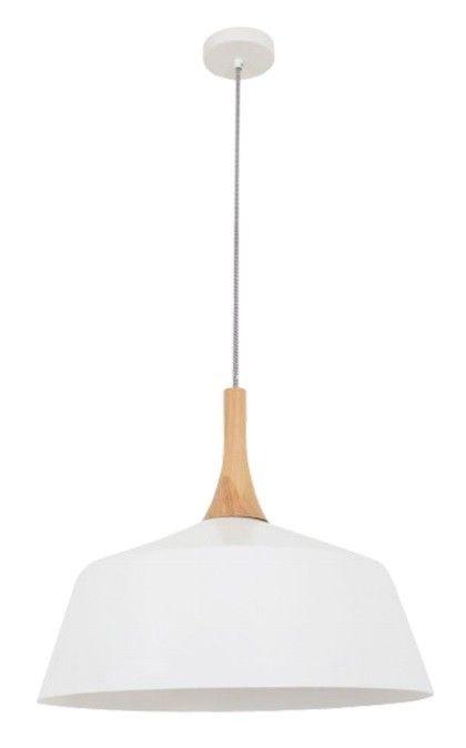 NORDIC - Medium White/Oak 1 Light Pendant - 400mm Diameter
