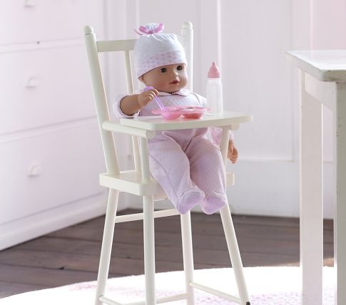 Doll high chairWooden Dolls, Kids Playrooms, Dolls High, Barns Kids, Baby Dolls, Chairs Potterybarnkids, High Chairs, Pottery Barn, Kids Toys