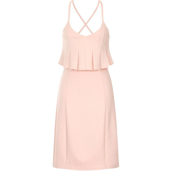 Lavish Alice Pleated Peplum Bodycon Dress ($59) ❤ liked on Polyvore featuring dresses, pleated dresses, pink cocktail dress, body con dresses, strappy dress and pink pleated dress