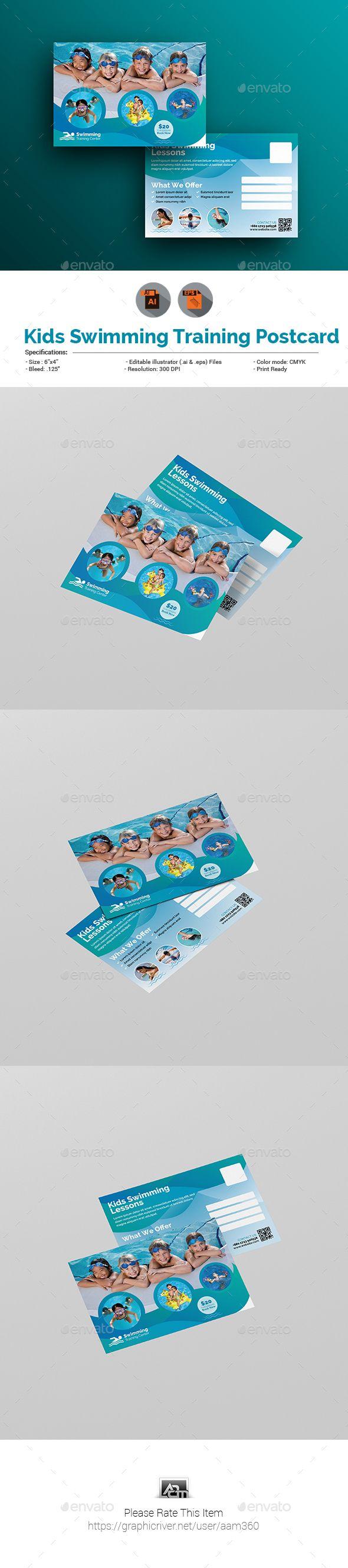 Kids Swimming Training Postcard Template Vector EPS, AI Illustrator