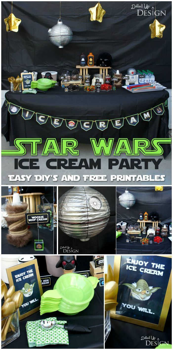 Star Wars Ice Cream Party with an Angry Birds twist. A super fun birthday party idea plus FREE printables!