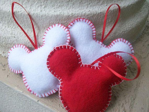 Mickey mouse felt ornament set of 4 SALE by BellisimaSofia on Etsy