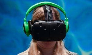 HTC Vive: home VR for under £700 – if you have a computer to run it with  <!–[if IE 9]> <![endif]–><!–[if IE 9]> <![endif]–>         A visitor tests the new Vive Steam VR virtual device at Mobile World Congress in Barcelona.  Photograph: Josep Lago/AFP/Getty Images         HTC's Vive virtual reality headset finally has a UK price: a hefty £689.   So, what do you get if you splash out a month's rent (in London at least)? There's the headset itself, co-created by gaming company Valve, ..