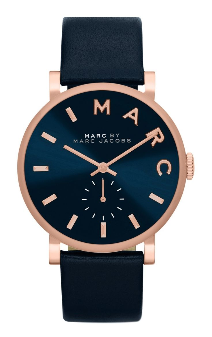 The understated elegance of this polished navy and rose gold Marc Jacobs watch makes it perfect for everyday wear.