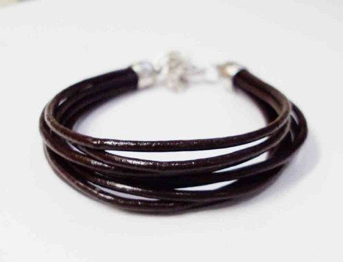 Brown real leather bracelets Heartdesignjewelry on ArtFire