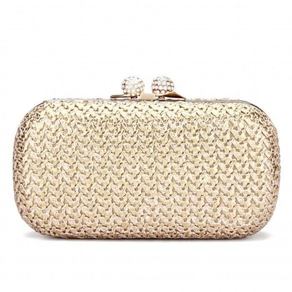 Yoins Knotting Clutch Bag in Gold ($35) ❤ liked on Polyvore featuring bags, handbags, clutches, bolsas, yoins, borse, beige, gold clutches, clasp purse and gold handbags