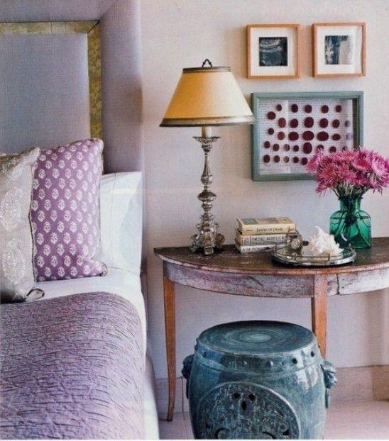 vintage elemente schlafzimmer gestalten fliederfarbe
