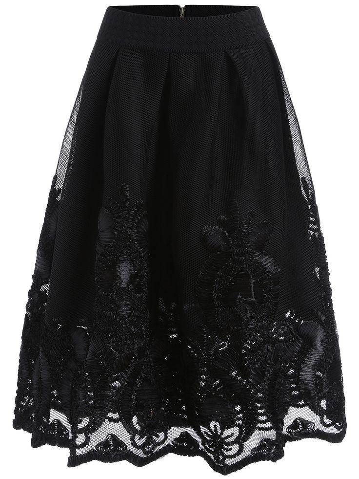 Black Sheer Mesh Embroidered Skirt