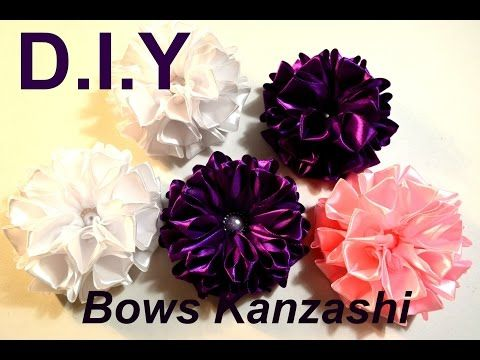 Праздничный бант из атласных лент/Хит продаж/Пышный бантик/Kanzashi Bows/D.I.Y - YouTube
